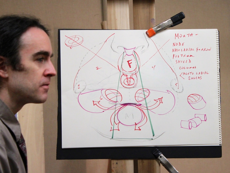 Dan Thompson with his diagram explaining the anatomy of the nose and mouth.
