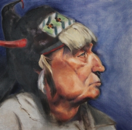 """Native American Portrait"". Oil on birch panel. 2012."