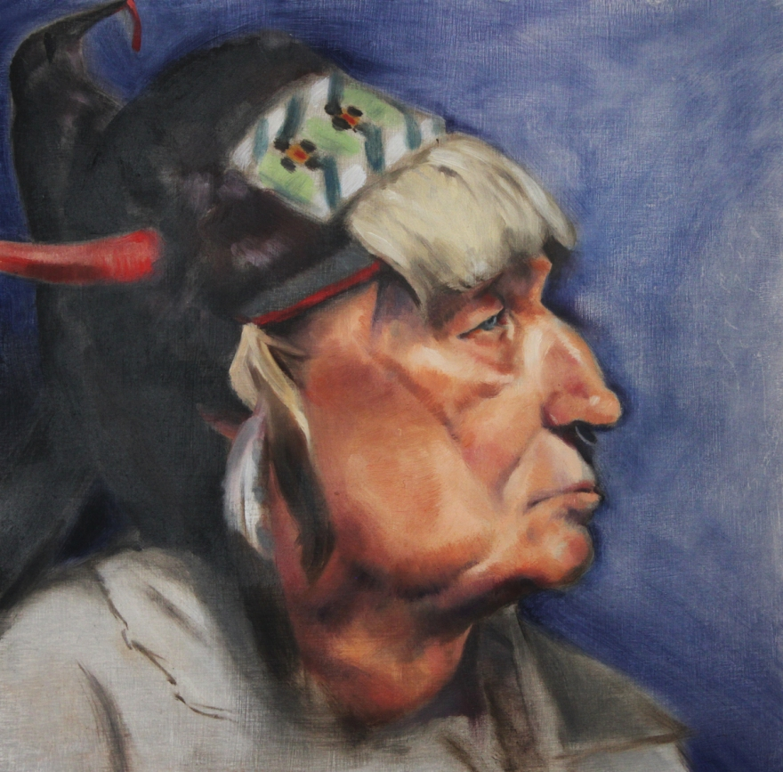 """Native American Portrait"". Oil on birch panel. 2013. Artist, Suzanne Lago Arthur."