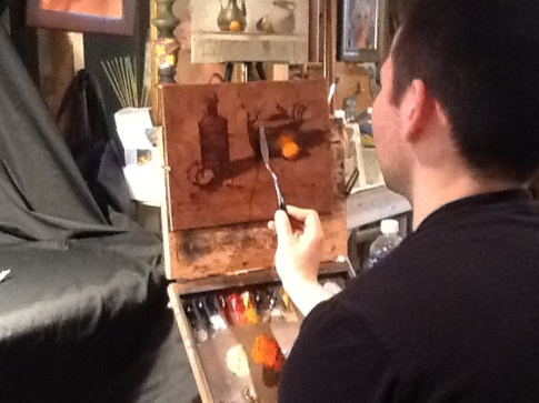 The early stage of David Cheifetz's knife painting demo.