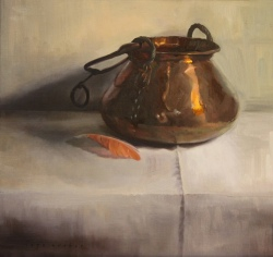 """Copper Pot, Flamingo Feather"". Oil on panel. 2014."