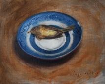 """Mortui Spinus Tristi (Death of the Goldfinch)"". Oil on linen panel. 2015. Artist, Suzanne Lago Arthur."