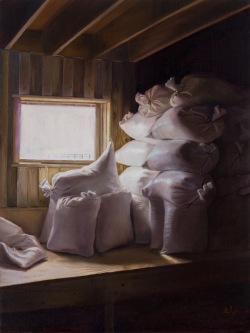 """Feedsacks II"". Oil on linen panel. 2017. Artist, Suzanne Lago Arthur."