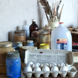 Egg tempera supplies.