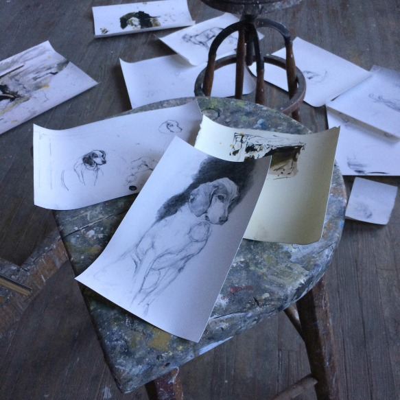 Reproductions of Andrew's drawings strewn about the floor.