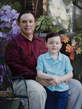 """Abuelo and Alexander (Portrait of the artist's father Carlos Lago and son)"", Oil on canvas, 30"" x 40"", 2013-2016"