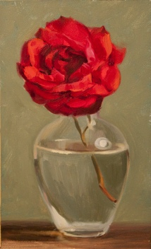 """""""A Red, Red Rose"""". Oil on panel. 2017. Available through the Tryst Gallery. http://www.trystgallery.com/"""